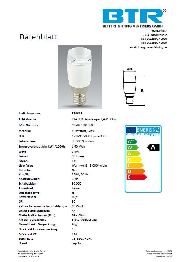 Dekolampe E14 LED 1,4W 90lm Non Dimmable Energiesparlampe – Bild 3